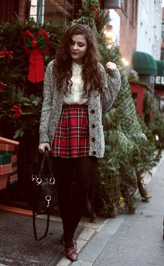 How to wear: brown leather loafers, red plaid skater skirt, beige button down blouse, grey knit cardigan