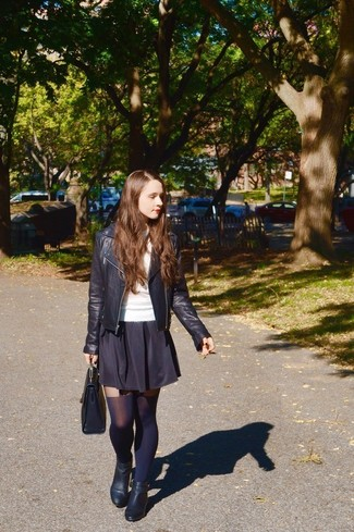78394f0750 How To Wear Black Tights With a Black Skater Skirt (62 looks ...