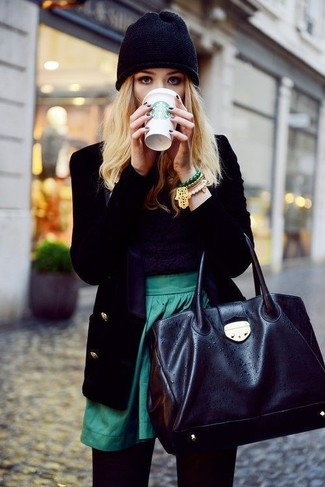 How to wear: black leather tote bag, green skater skirt, black crew-neck sweater, black velvet blazer