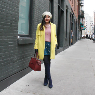 How to wear: navy suede over the knee boots, teal skater skirt, pink crew-neck sweater, yellow coat