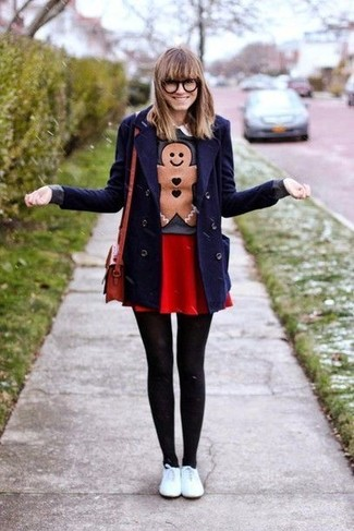 How to wear: white leather low top sneakers, red skater skirt, charcoal print crew-neck sweater, navy pea coat