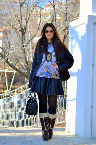 How to wear: dark brown suede knee high boots, black leather skater skirt, light blue print crew-neck sweater, black puffer jacket
