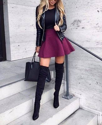 How to wear: black suede over the knee boots, purple skater skirt, black crew-neck t-shirt, black quilted leather biker jacket