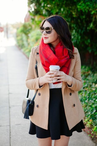 How to wear: black leather crossbody bag, black skater skirt, white crew-neck t-shirt, beige coat