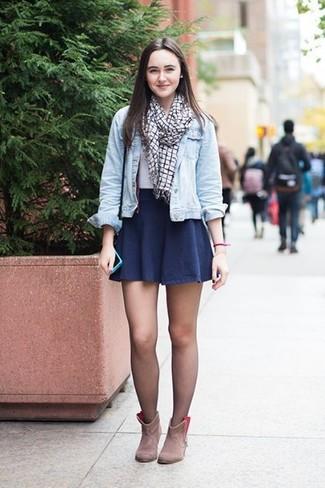 How to wear: beige suede ankle boots, navy skater skirt, white crew-neck t-shirt, light blue denim jacket