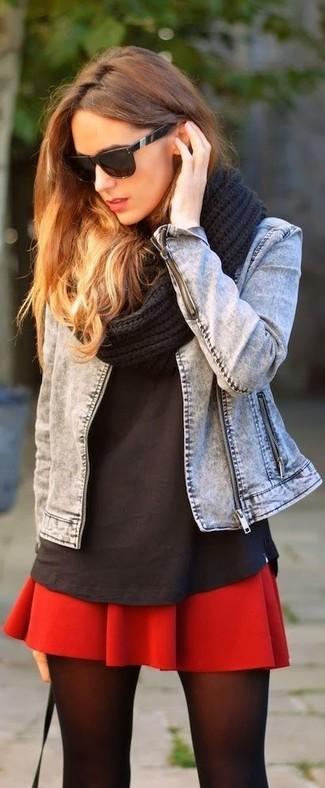 How to wear: black knit scarf, red skater skirt, black crew-neck t-shirt, grey denim jacket