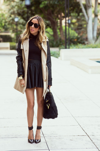 How to wear: black leather pumps, black leather skater skirt, black cropped sweater, beige leather trenchcoat