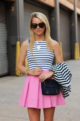 new concept 4a69a 84ac0 Women's Black Suede Crossbody Bag, Pink Skater Skirt, White ...