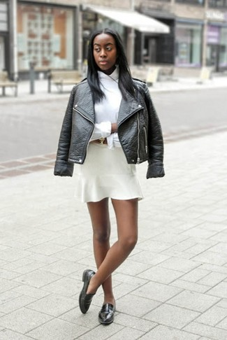 How to wear: black leather loafers, white skater skirt, white dress shirt, black leather biker jacket