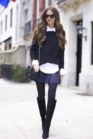 How to wear: black suede knee high boots, navy skater skirt, white dress shirt, black crew-neck sweater