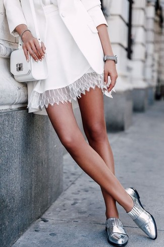 How to wear: silver leather loafers, white lace skater skirt, white silk long sleeve blouse, white blazer