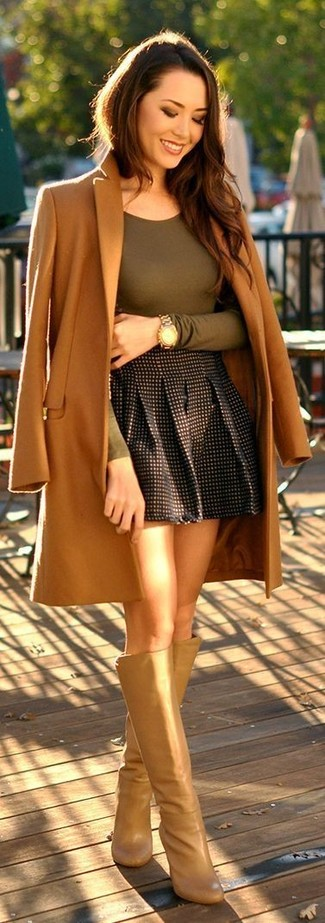 How to wear: tan leather knee high boots, black check skater skirt, olive long sleeve t-shirt, camel coat