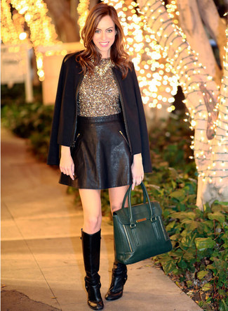 How to wear: black leather knee high boots, black leather skater skirt, gold sequin sleeveless top, black blazer