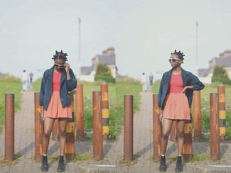 How to wear: black leather lace-up flat boots, orange skater skirt, red tank, navy pea coat