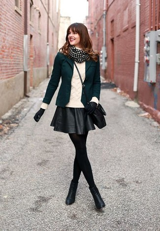 How to wear: black leather ankle boots, black leather skater skirt, white knit turtleneck, dark green blazer