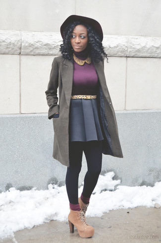 How to wear: tan suede lace-up ankle boots, navy skater skirt, purple turtleneck, olive coat