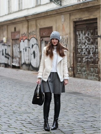 How to wear: black leather over the knee boots, grey skater skirt, white turtleneck, beige shearling jacket