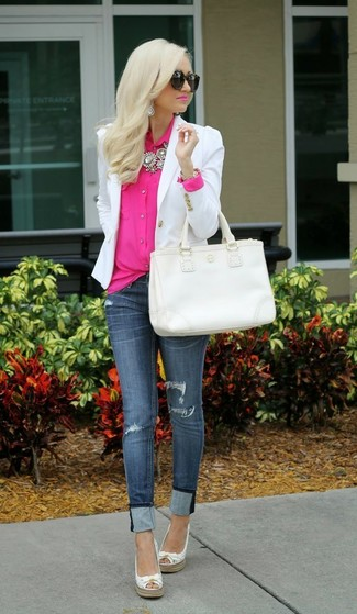 How to wear: white leather espadrilles, navy ripped skinny jeans, hot pink button down blouse, white blazer