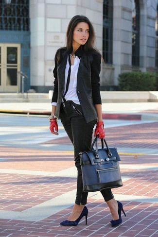 How to wear: navy suede pumps, black leather skinny jeans, white and black button down blouse, charcoal blazer