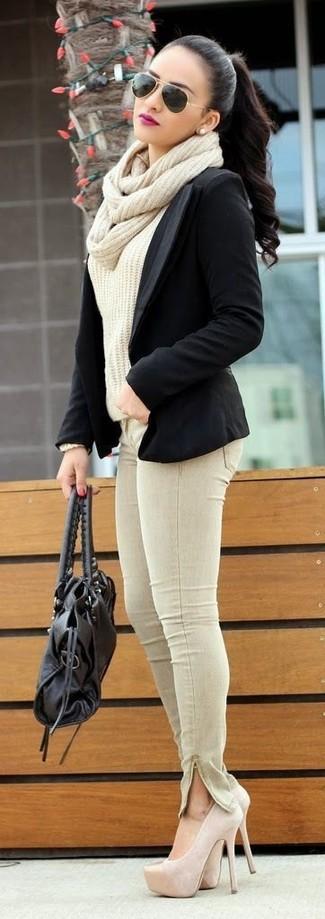 How to wear: beige suede pumps, beige skinny jeans, beige cable sweater, black blazer