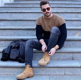 How to Wear a Navy Cable Sweater For Men: If you're looking for a relaxed and at the same time dapper outfit, try teaming a navy cable sweater with navy skinny jeans. Add a modern twist to your look by slipping into tan suede work boots.