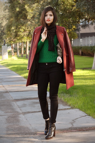 How to wear: black leather ankle boots, black skinny jeans, green cable sweater, burgundy coat