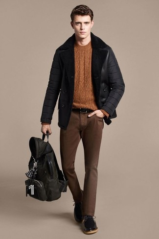 How to wear: black leather derby shoes, brown skinny jeans, tobacco cable sweater, black shearling jacket