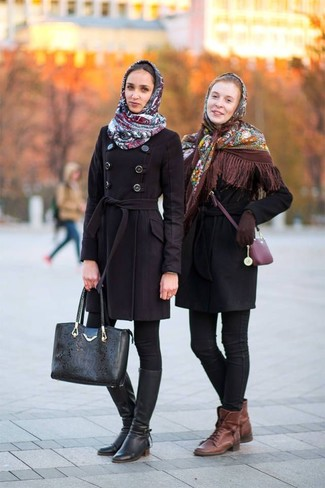 How to wear: brown leather lace-up flat boots, black skinny jeans, black coat, brown floral shawl