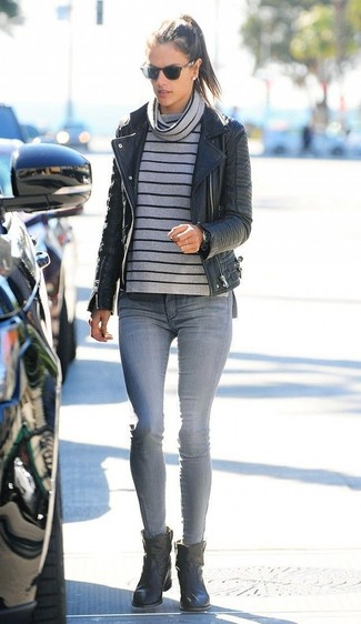 How to wear: black leather ankle boots, grey skinny jeans, grey horizontal striped cowl-neck sweater, black leather biker jacket