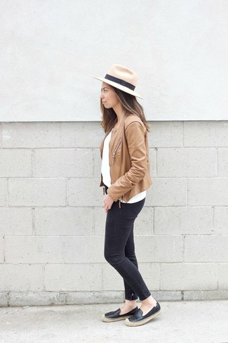 How to wear: black leather espadrilles, black skinny jeans, white crew-neck sweater, tan leather biker jacket