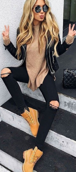 How to wear: tan nubuck lace-up flat boots, black ripped skinny jeans, tan crew-neck sweater, black quilted leather biker jacket