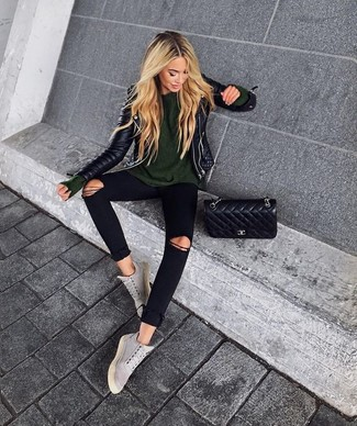 How to wear: grey suede high top sneakers, black ripped skinny jeans, olive crew-neck sweater, black quilted leather biker jacket