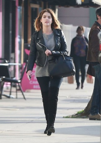 How to wear: black suede over the knee boots, black skinny jeans, grey crew-neck sweater, black leather biker jacket