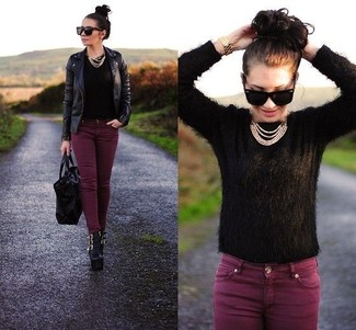 How to wear: black leather ankle boots, burgundy skinny jeans, black mohair crew-neck sweater, black leather biker jacket