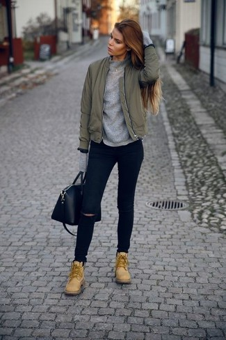 d74fbdcd9c27 How To Wear Blue Ripped Skinny Jeans With Tan Lace-up Flat Boots (4 ...