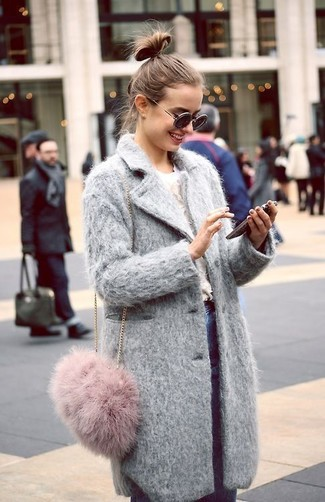 How to Wear a Pink Fur Crossbody Bag: For a relaxed casual ensemble, choose a grey coat and a pink fur crossbody bag — these two items work really well together.