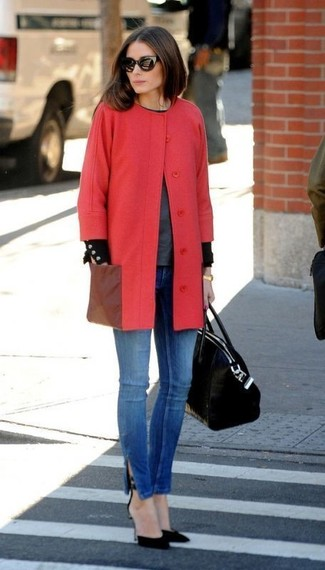 Olivia Palermo wearing Black Suede Pumps, Blue Skinny Jeans, Charcoal Crew-neck Sweater, Red Coat