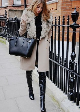 How to wear: black leather over the knee boots, black skinny jeans, black crew-neck sweater, beige fur collar coat