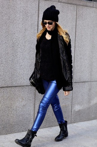How to wear: black leather ankle boots, blue leather skinny jeans, black fluffy crew-neck sweater, black fur jacket