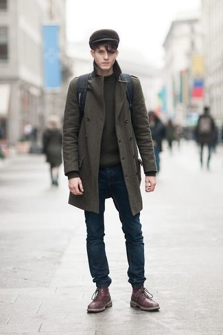 How to wear: burgundy leather brogue boots, navy skinny jeans, olive crew-neck sweater, olive overcoat