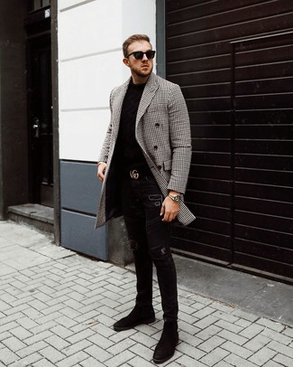 How to wear: black suede chelsea boots, black ripped skinny jeans, black crew-neck sweater, black and white gingham overcoat