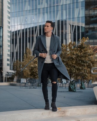 How to Wear a White Crew-neck Sweater For Men: A white crew-neck sweater and black ripped skinny jeans are the kind of a fail-safe off-duty combination that you need when you have no time to pick out an ensemble. Let's make a bit more effort now and add charcoal suede chelsea boots to your getup.