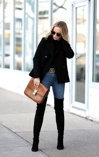 How to wear: black suede over the knee boots, blue skinny jeans, black crew-neck sweater, black pea coat