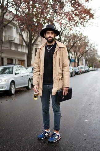 How to wear: navy suede athletic shoes, navy skinny jeans, black crew-neck sweater, beige raincoat