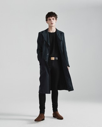 How to Wear Dark Brown Suede Chelsea Boots For Men: If it's ease and functionality that you appreciate in an ensemble, opt for a dark green trenchcoat and black skinny jeans. To bring a bit of flair to this outfit, add dark brown suede chelsea boots to this ensemble.