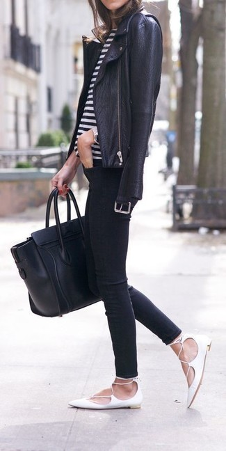 How to wear: white leather ballerina shoes, black skinny jeans, white and black horizontal striped crew-neck t-shirt, black leather biker jacket