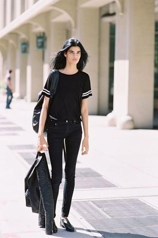 How to wear: black leather oxford shoes, black skinny jeans, black crew-neck t-shirt, black leather biker jacket