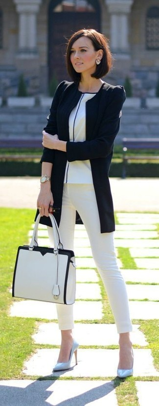 How to wear: light blue leather pumps, white skinny jeans, white crew-neck t-shirt, black biker jacket