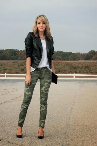 How to wear: black satin pumps, olive camouflage skinny jeans, white crew-neck t-shirt, black leather biker jacket
