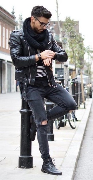 How to Wear a Black Knit Scarf For Men: You'll be surprised at how easy it is for any gentleman to pull together this a modern casual look. Just a black leather biker jacket and a black knit scarf. A pair of black leather casual boots easily turns up the wow factor of your ensemble.